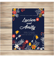 wedding invitation with flowers dark blue backgrou vector image vector image