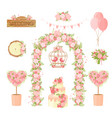 wedding party flower decoration items cartoon vector image vector image