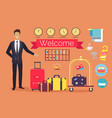 welcome hotel services on vector image vector image