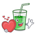 with heart green smoothie mascot cartoon vector image vector image