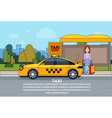 woman wait for taxi at station city transport vector image