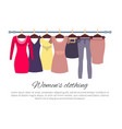 womens clothing poster with fashionable apparel vector image vector image