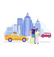 young happy couple making selfie on cityscape vector image vector image