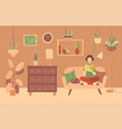 young woman reading book at home on sofa vector image vector image