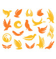 isolated abstract yellow and orange color birds vector image