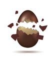 3d broken dark chocolate egg with shadow vector image