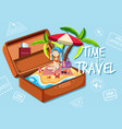 a girl on the beach in suitcase vector image vector image