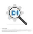 abacus icon search glass with gear symbol icon vector image