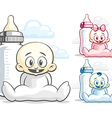Babies and feeding bottle vector image vector image