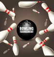 bowling tournament invitation card - frame vector image vector image