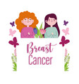 breast cancer cartoon women with butterflies vector image vector image