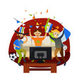 cartoon football party at home in cozy atmosphere vector image