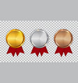 champion gold silver and bronze medal template vector image