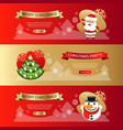 christmas horizontal banners set red and gold vector image vector image