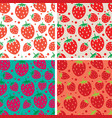 collection of seamless repeating strawberry vector image vector image
