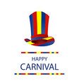 color bright hat for a carnival happy carnival vector image