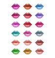 colorful lips set vector image vector image