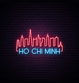concept neon skyline of ho chi minh city vector image