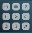 construction icons line style set with wall vector image