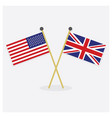 crossed usa and great britain flags vector image vector image