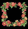 decorative border frame wreath with pomegranate vector image
