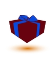 deep red gift box present with blue bow and ribbon vector image