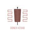 doner kebab logo isolated on white background vector image