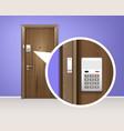 door alarm system realistic composition vector image vector image