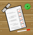 examination test questionnaire on wooden table vector image vector image