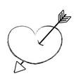 figure arrow design inside heart love icon vector image vector image