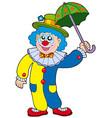 funny clown holding umbrella vector image