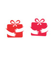 gift box and hands symbol present surprise vector image