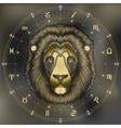 Golden lion portrait zodiac Leo sign vector image