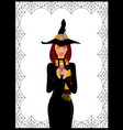 halloween of young witch in long black dress vector image vector image