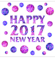 Happy new year 2017 with mosaic balls vector image vector image