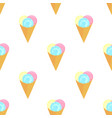 ice cream balls in a waffle cone seamless pattern vector image vector image