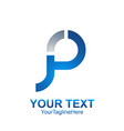 initial letter p logo template colored silver vector image vector image
