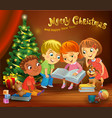 kids reading the book beside a christmas tree vector image vector image