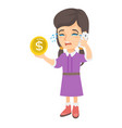 little business woman crying and talking on phone vector image
