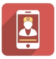 Online Doctor Flat Rounded Square Icon with Long vector image