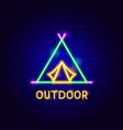 outdoor neon label vector image vector image
