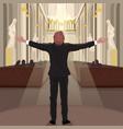 pastor in church calls parishioners to pray vector image vector image
