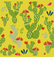 pattern with doodle cactus vector image