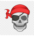 pirate skull in bandane icon cartoon style vector image vector image