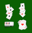 play cards combinations with aces on green field vector image vector image