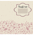 postcard in pink and beige colours with floral or vector image vector image