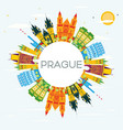 prague skyline with color buildings blue sky and vector image