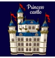 Princess castle on a blue background vector image vector image
