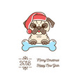 pug christmas year of the dog 2018 cute cartoon vector image vector image