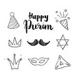 purim hand drawn icons set traditional jewish vector image vector image